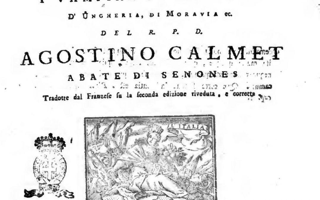 """""""Dissertazioni sopra le apparizioni de' spiriti e vampiri"""" di Augustin Calmet in bancarella"""