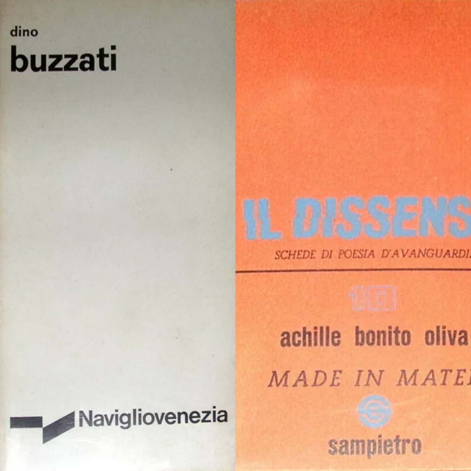 Un raro Buzzati e il primo libro di Achille Bonito Oliva!