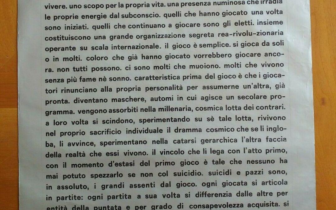 """""""fan – too"""" un manifesto di Sebastiano Vassalli in asta su eBay"""
