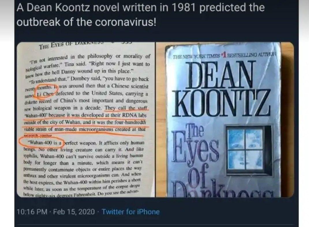 È delirio-eBay per il libro di Dean Koontz del 1981 con la profezia sul coronavirus di Wuhan