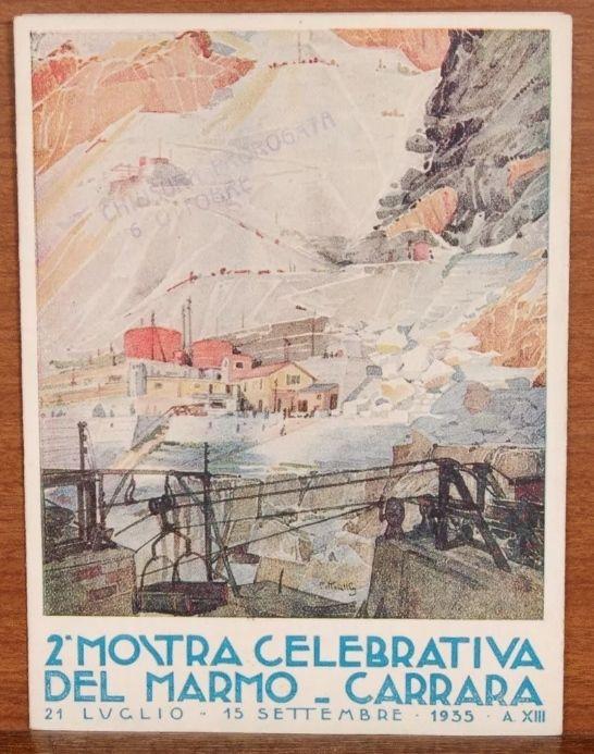 Brochure volantino pieghevole 2^ mostra celebrativa del marmo_Carrara 1935. Molto raro