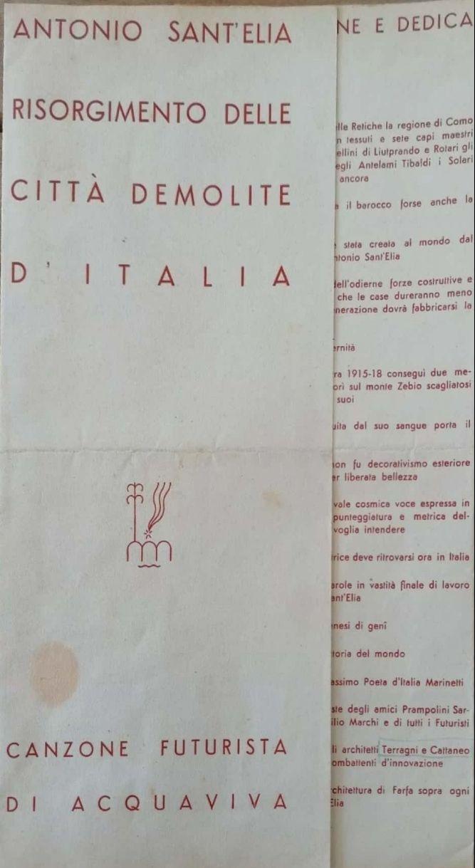 Canzone Futurista Di Giovanni Acquaviva autografata con dedica alla pittrice Enrica Valenziano