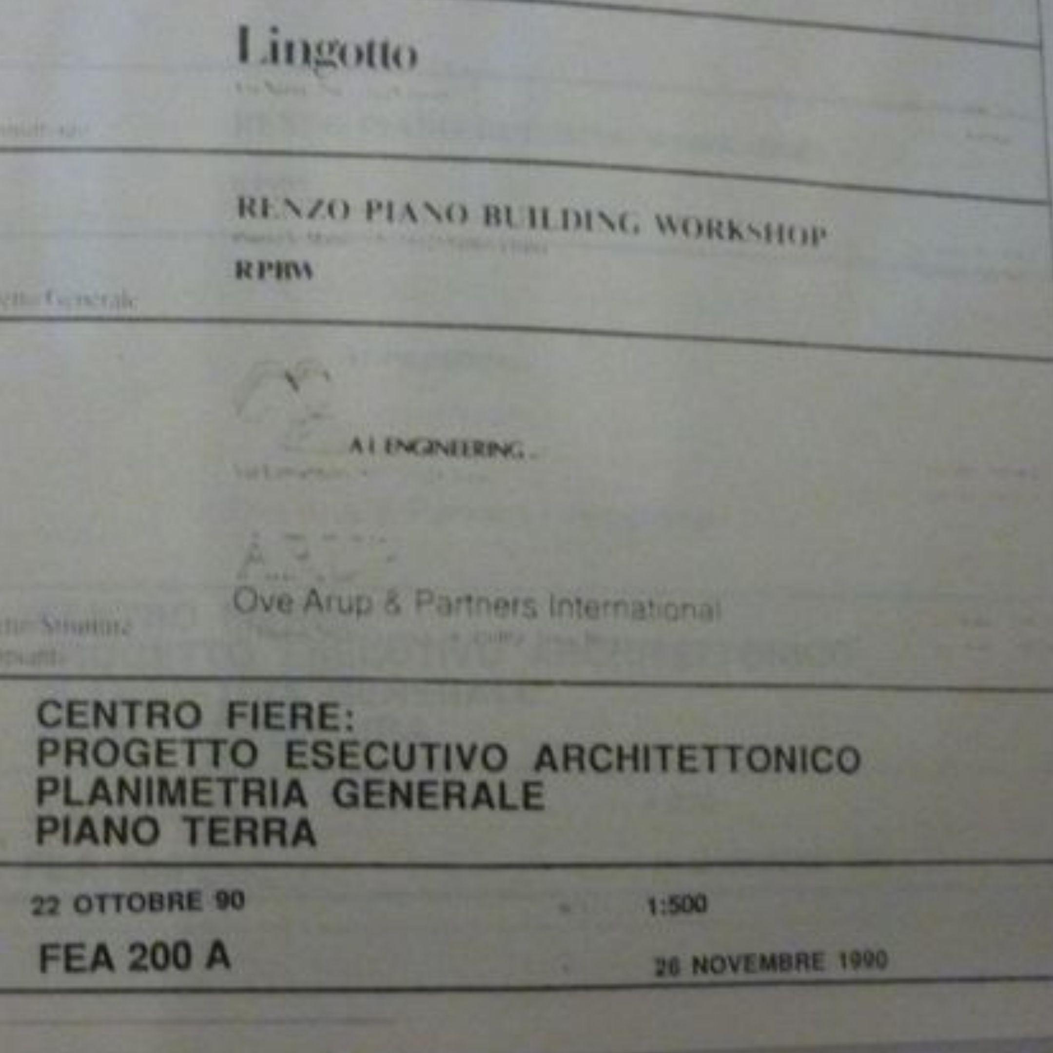 """Su Catawiki in asta il progetto del """"Lingotto"""" di Torino di Renzo Piano"""
