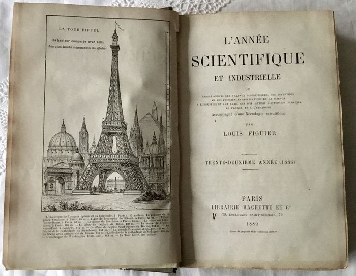 """""""L'année scientifique et industrielle"""" di Louis Figuier (Paris, 1889): uno dei primi libri riproducenti la Torre Eiffel"""
