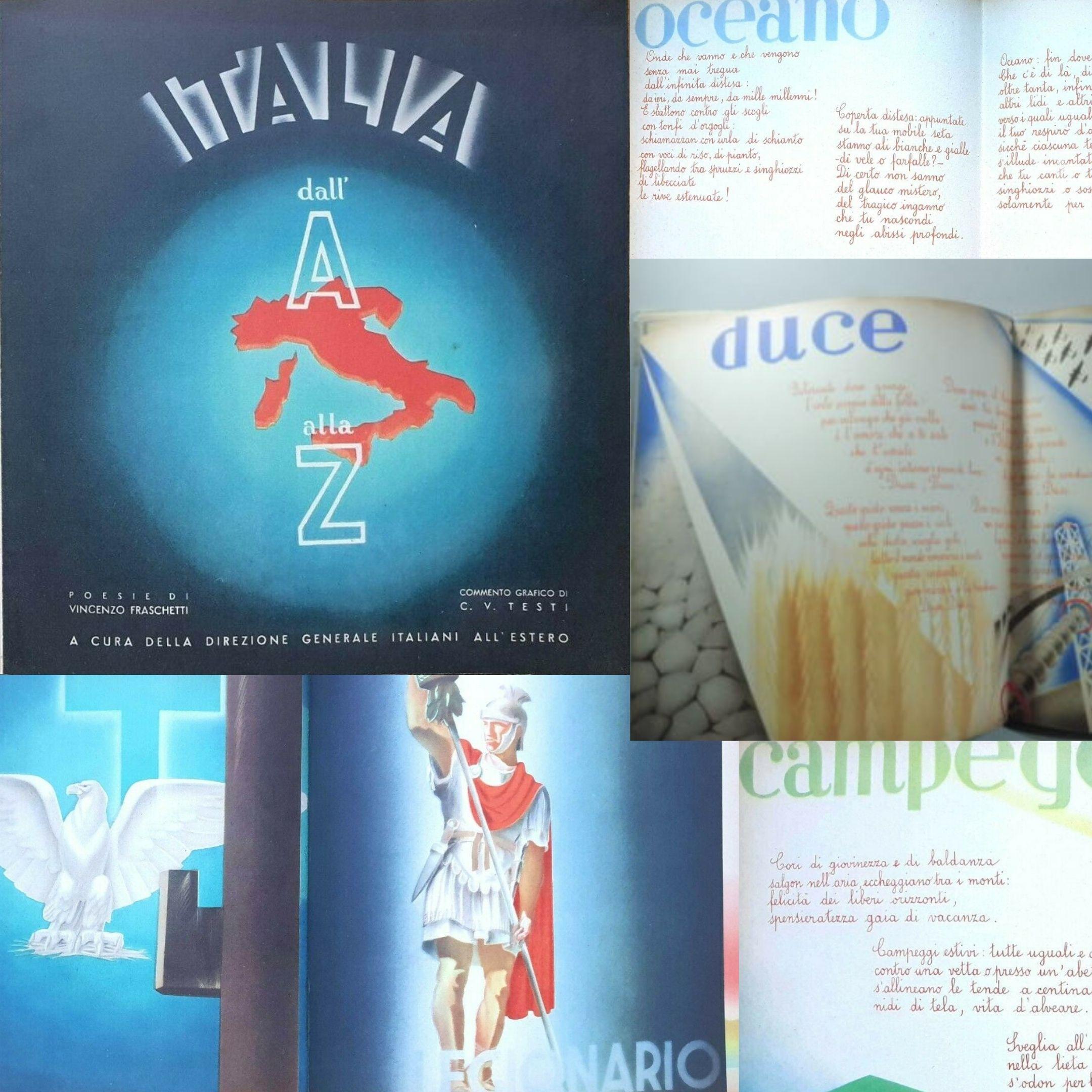 """Libro di propaganda fascista per bambini italiani residenti all'estero: """"Italia dall'A alla Z"""" di Fraschetti & Testi (1936)"""