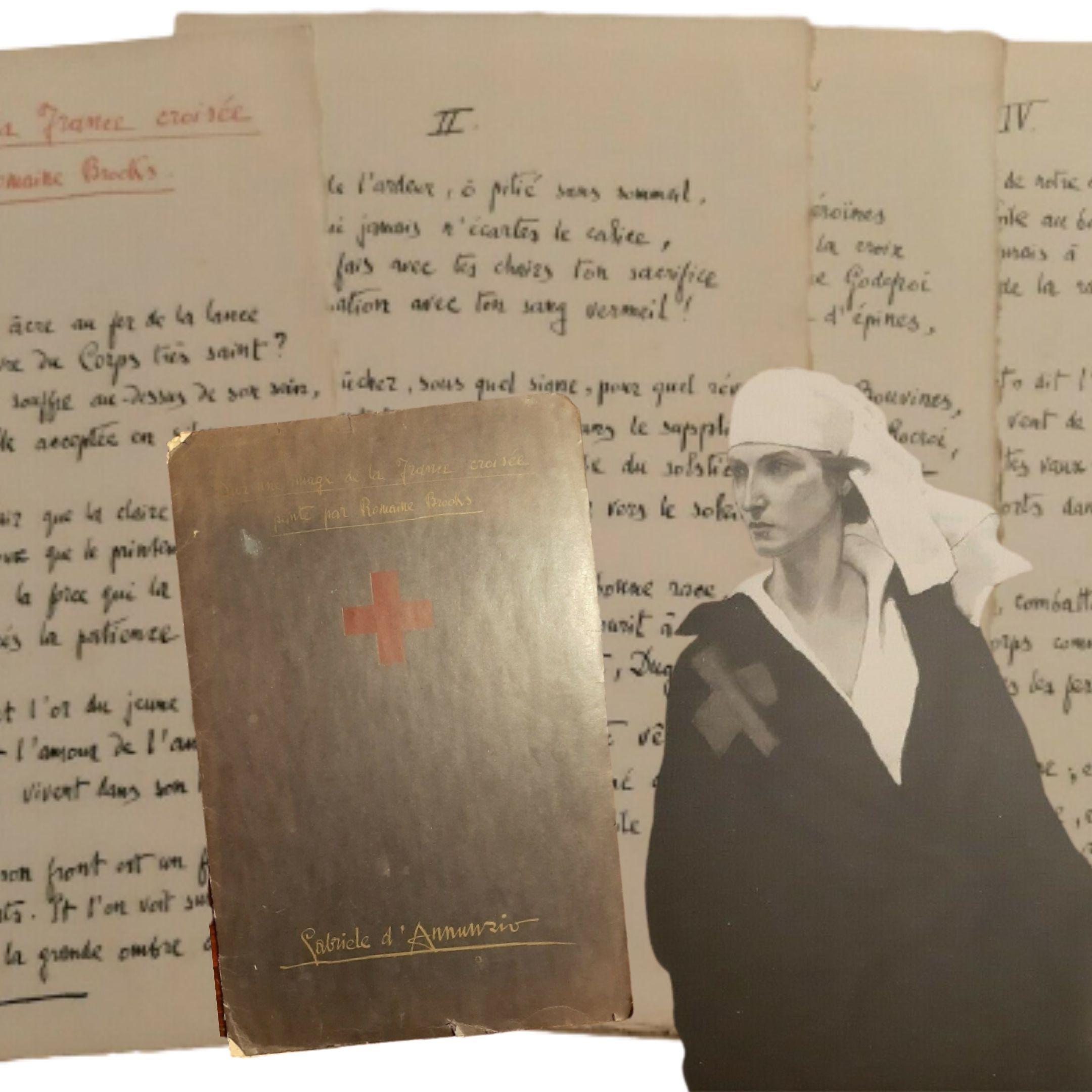 """Un rarissimo pezzo di """"Dannunziana"""": con un disegno di Romaine Brooks"""