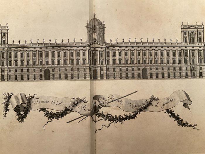 """Grandiosa opera del Vanvitelli: """"Dichiarazione dei Disegni del Reale palazzo di Caserta"""" (1756) in asta"""