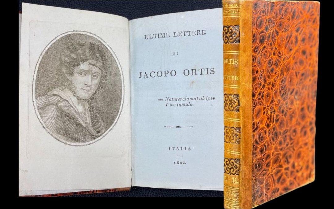 """Meravigliosa edizione pirata delle """"Ultime lettere di Jacopo Ortis"""" di Ugo Foscolo (1802) in asta"""