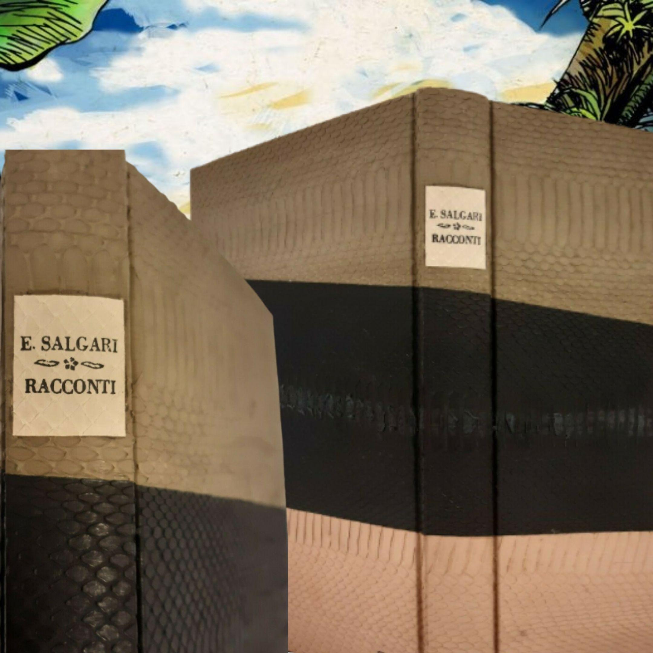 """Curioso libro di Emilio Salgari, """"I racconti"""", rilegato con pelli di serpenti a intarsio: un'opera eseguita ad arte"""
