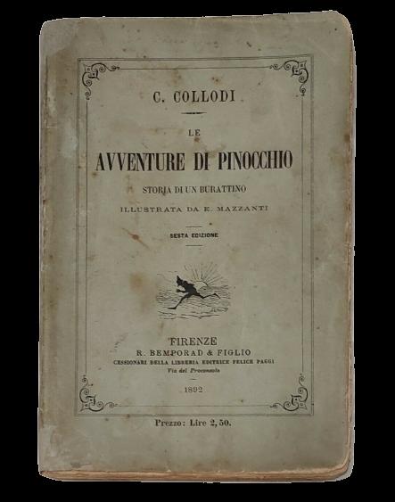In asta una delle prime edizioni delle Avventure di Pinocchio di Carlo Collodi: brossura originale (non ricopertinata!)