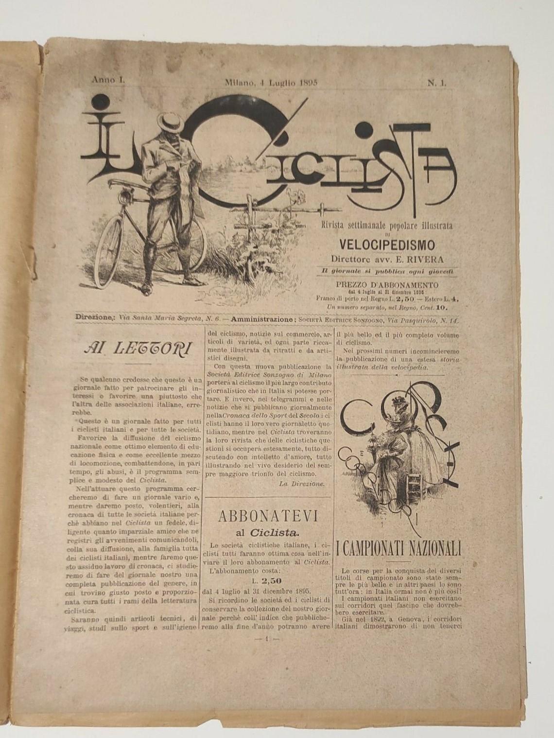 """Appare in vendita il primo numero de """"Il ciclista"""" (1895), periodico sportivo che l'anno seguente diventerà """"La gazzetta dello Sport"""""""