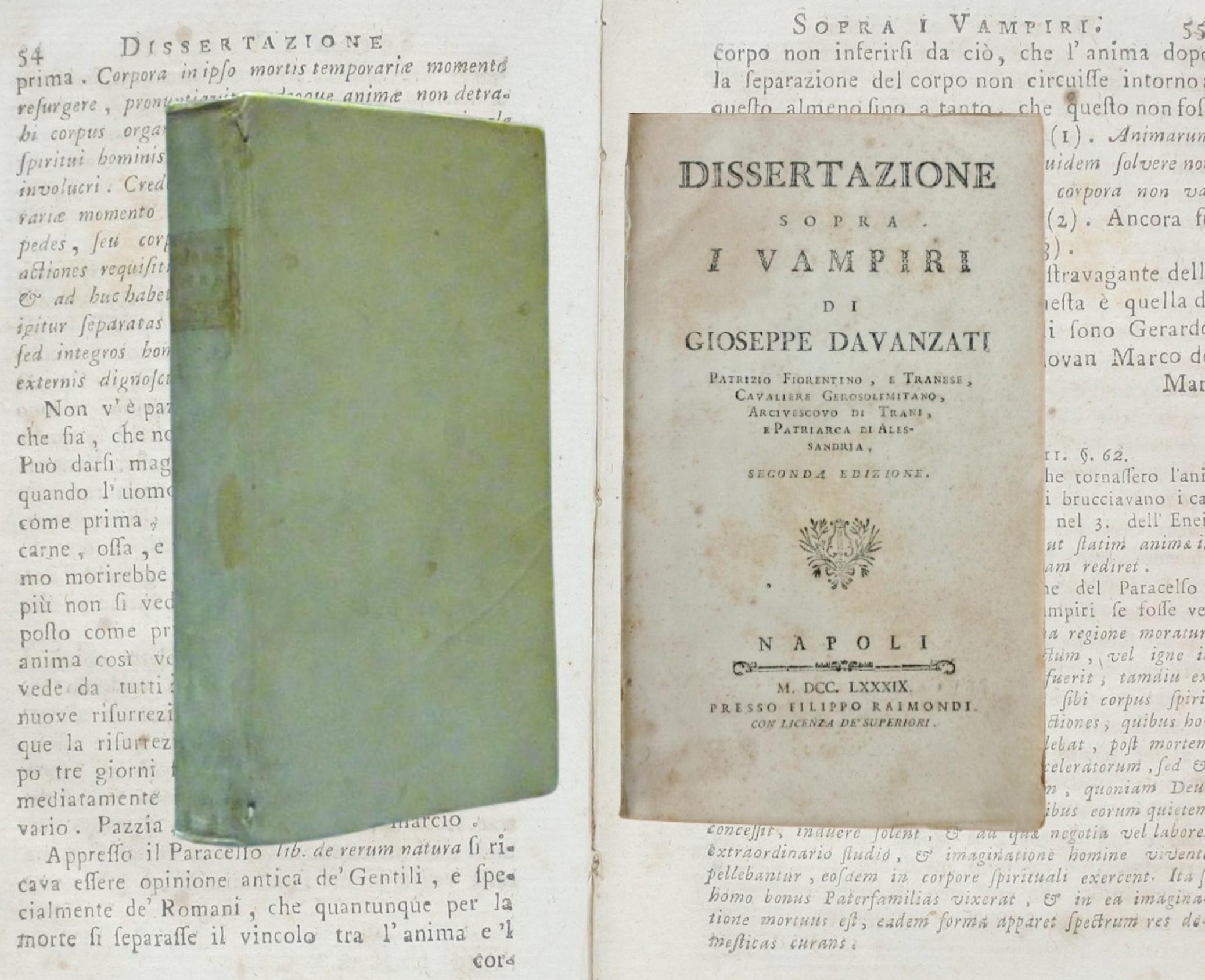 """""""Dissertazione sopra i vampiri"""" di Giuseppe Davanzati (P. Raimondi, 1789): la copia appartenuta al professor Romolo Runcini"""