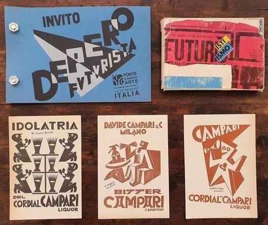Futurismo: volantini pubblicitari e inviti di mostre (1927) e miniature di libri futuristi (1992)