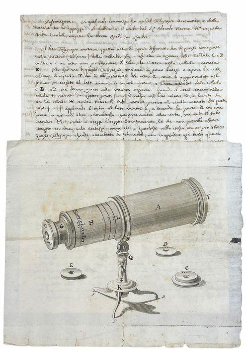 In asta Disegno originale di un telescopio e libretto d'uso (fine del Settecento) della ditta Nairne & Blunt di Londra