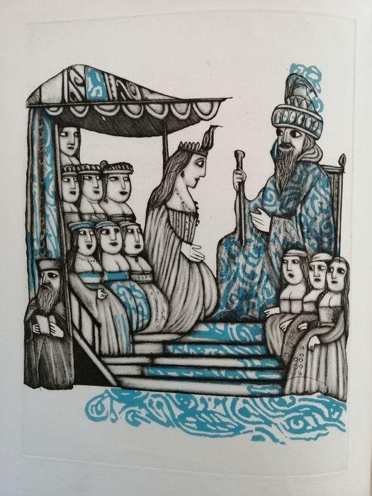 """All'asta """"Ester e Rut"""": edizione illustrata da acquetinte di Emanuele Luzzati (Il polifilo, 1991) in 200 copie"""