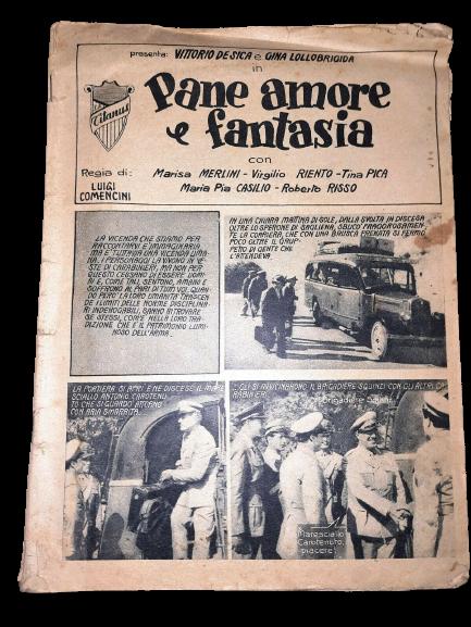 """Il cineromanzo originale di """"Pane amore e fantasia"""" con Vittorio De Sica e Gina Lollobrigida"""