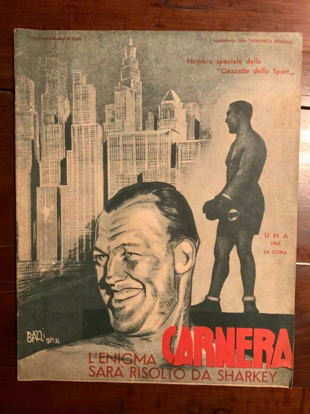 """Rarissimo numero unico: """"L'enigma Carnera sarà risolto da Sharkey"""" (1933)"""