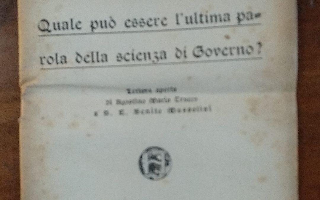 Raro e inaspettato: lettera aperta a Mussolini del Movimento Hallesista Internazionale
