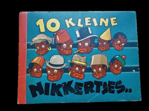 """In asta un libro anni '40 per bambini che oggi sarebbe impensabile: """"10 kleine Nikkertjes"""" (dieci piccoli negri)"""