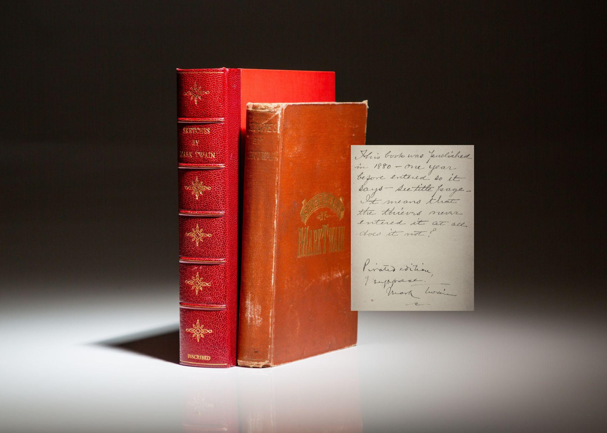 """Un esemplare unico di """"Sketches"""" del 1881 (appartenuto all'attore Robin Williams) dove Mark Twain scrive nella dedica che si tratta di una copia pirata"""